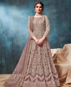 Zari Net Abaya Style Salwar in Light Brown