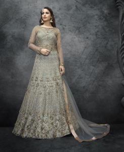 HandWorked Silk Abaya Style Salwar in Dark Silver