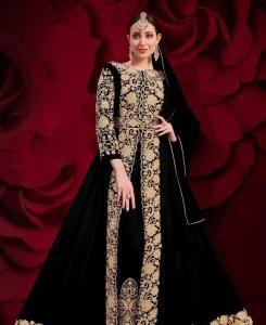 Stone Work Georgette Abaya Style Salwar in Black