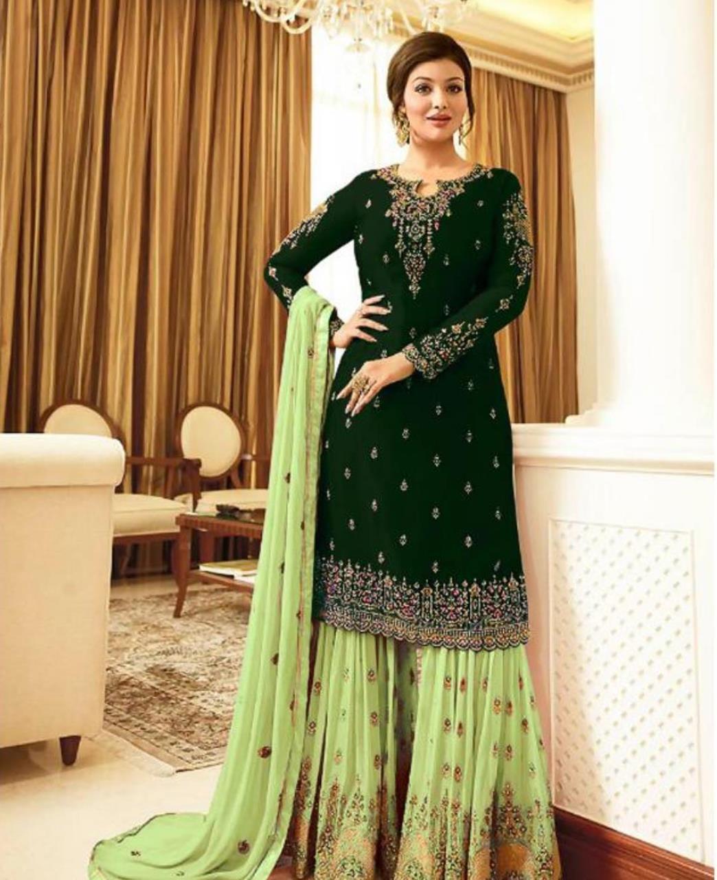Embroidered Georgette Straight cut Salwar Kameez in Dark Green