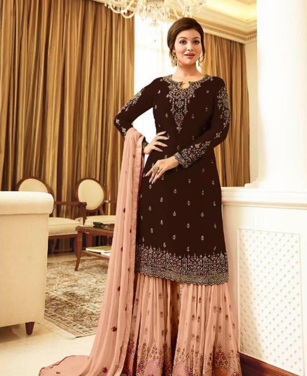 Embroidered Georgette Straight cut Salwar Kameez in Dark Brown