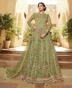 Thread Net Abaya Style Salwar in Mehendi