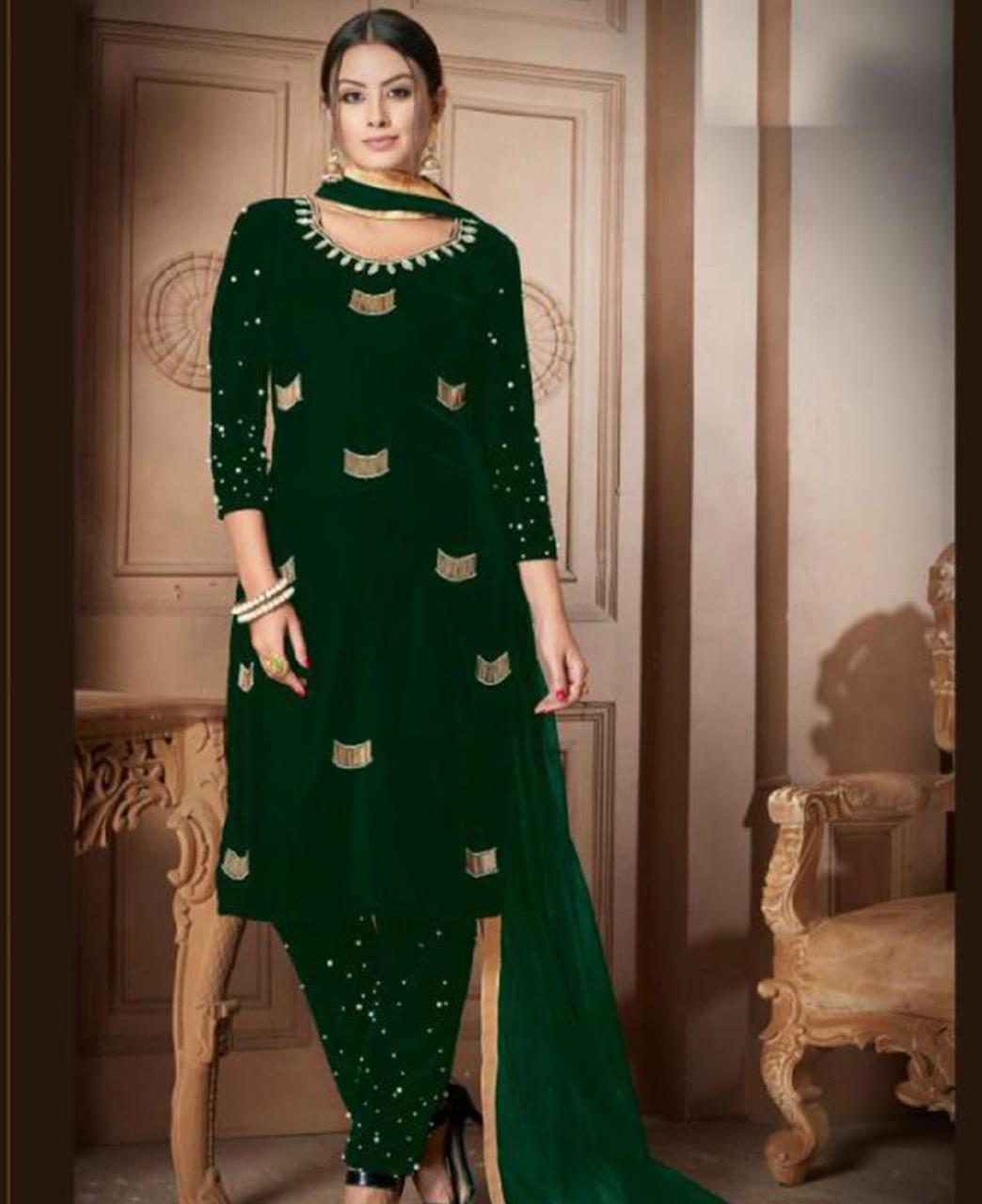 HandWorked Velvet Green Straight Cut Salwar