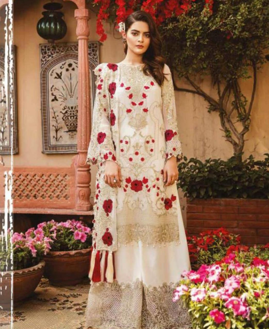 Embroidered Georgette Straight cut Salwar Kameez in White