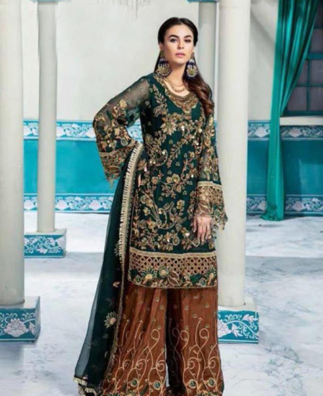 Embroidered Georgette Straight cut Salwar Kameez in Bottel Green
