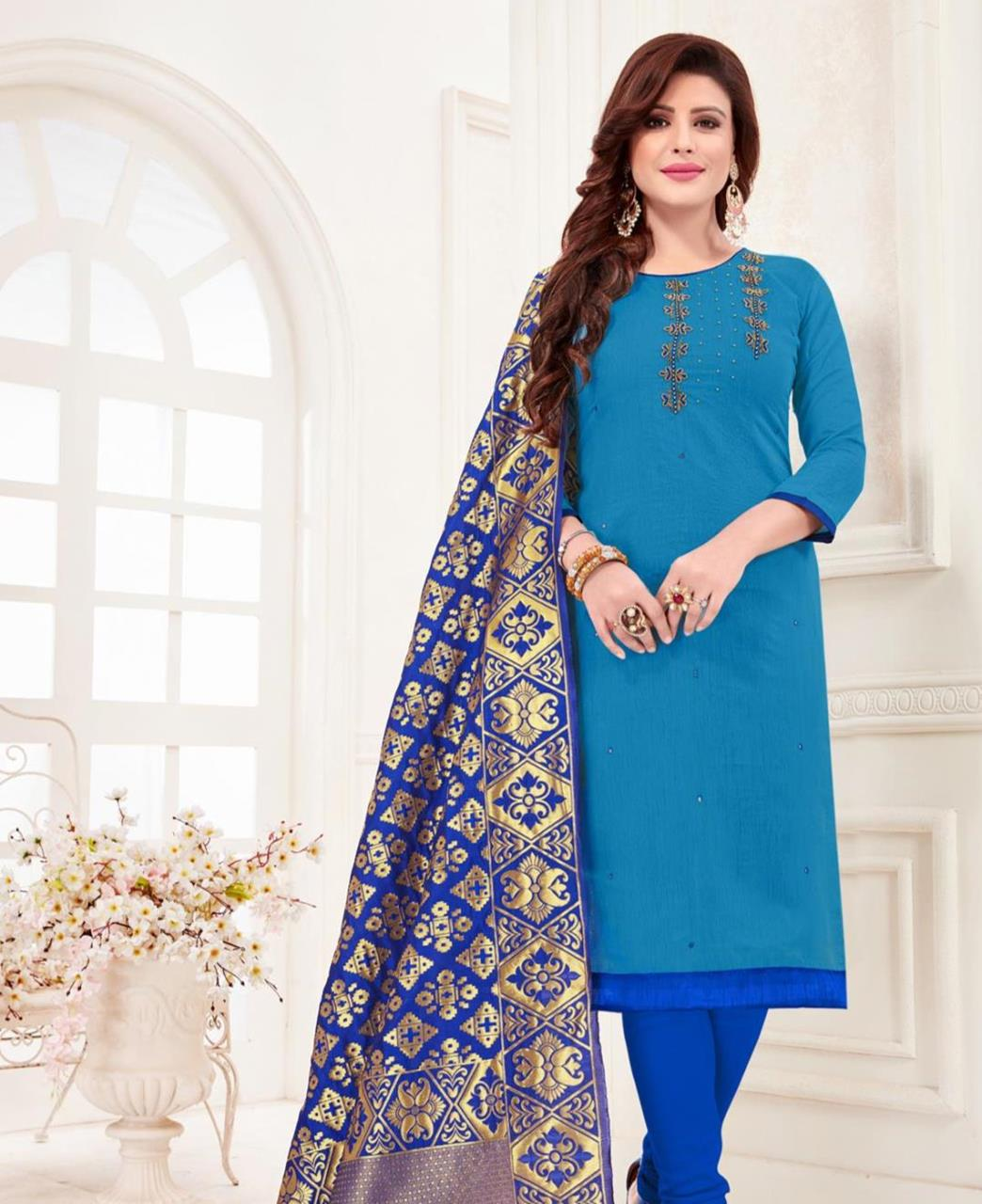 Embroidered Cotton SKYBLUE Straight Cut Salwar