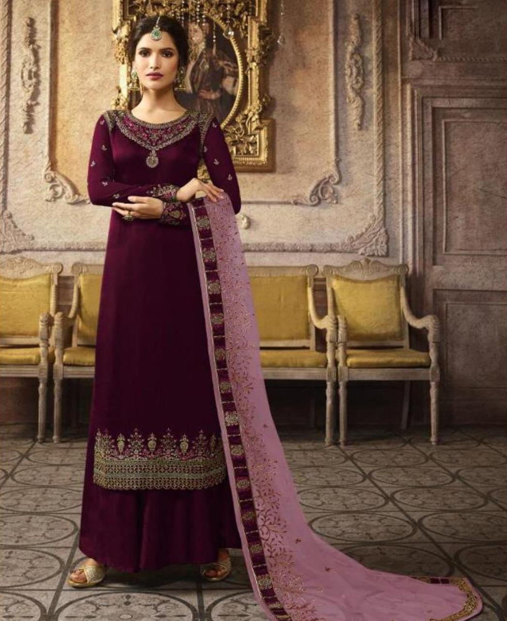 Embroidered Silk Straight cut Salwar Kameez in Rani Pink