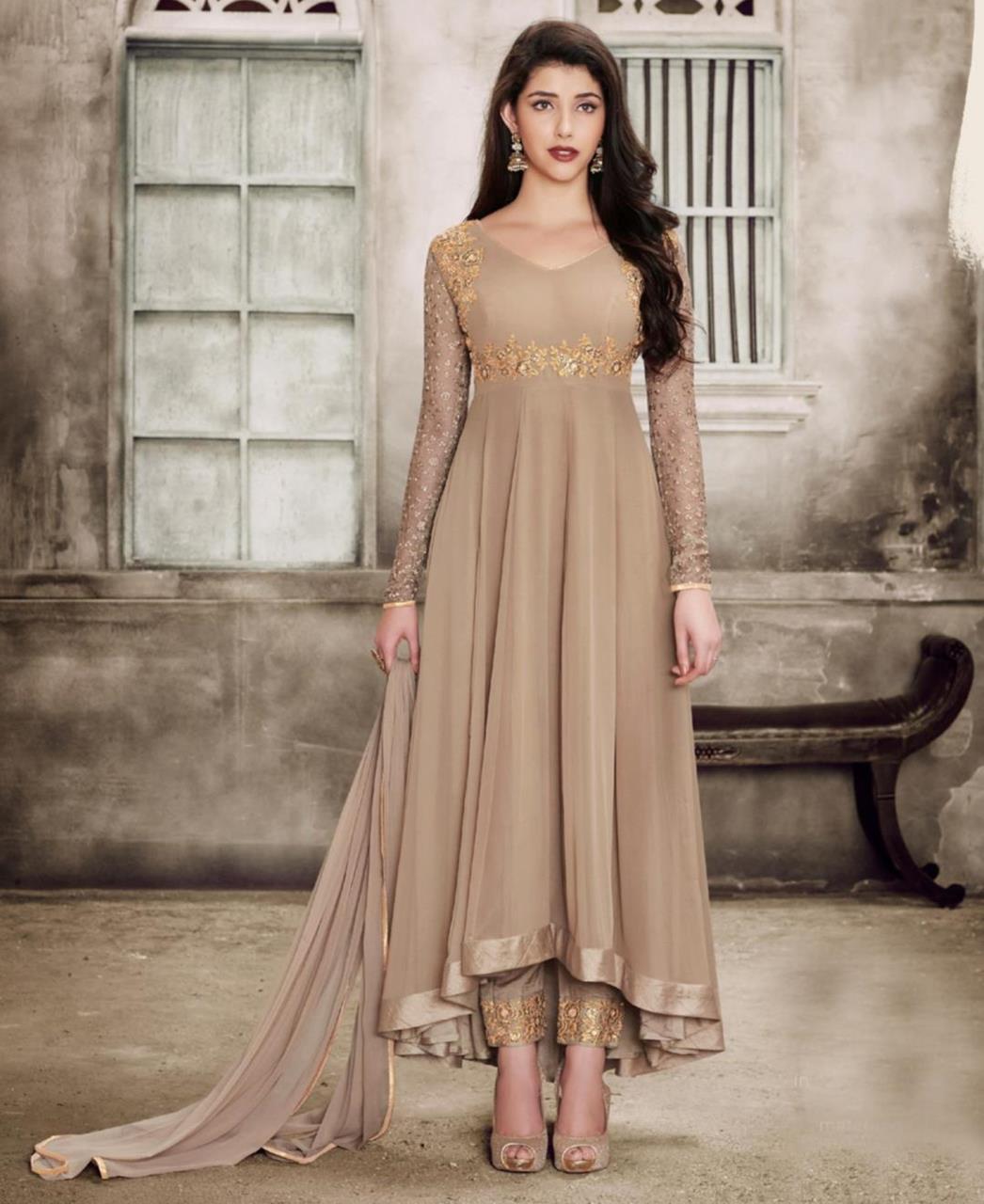 Thread Georgette Abaya Style Salwar in Beige