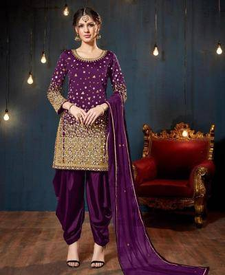 Stone Work Silk Purple Patiyala Suit Salwar