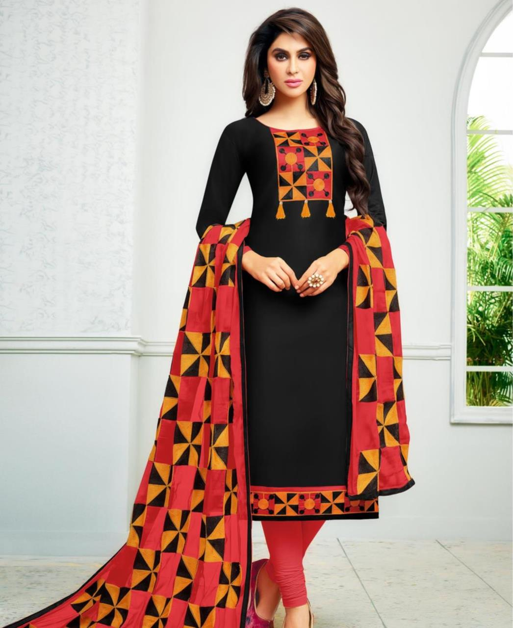 Printed Cambric Cotton Black Straight Cut Salwar
