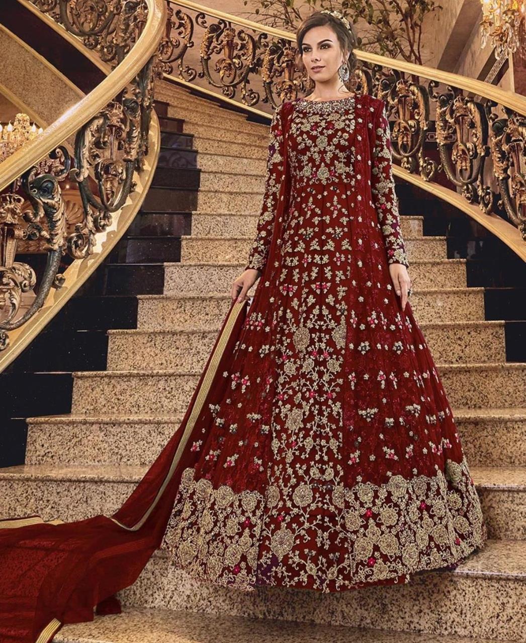 Stone Work Silk Abaya Style Salwar in Red