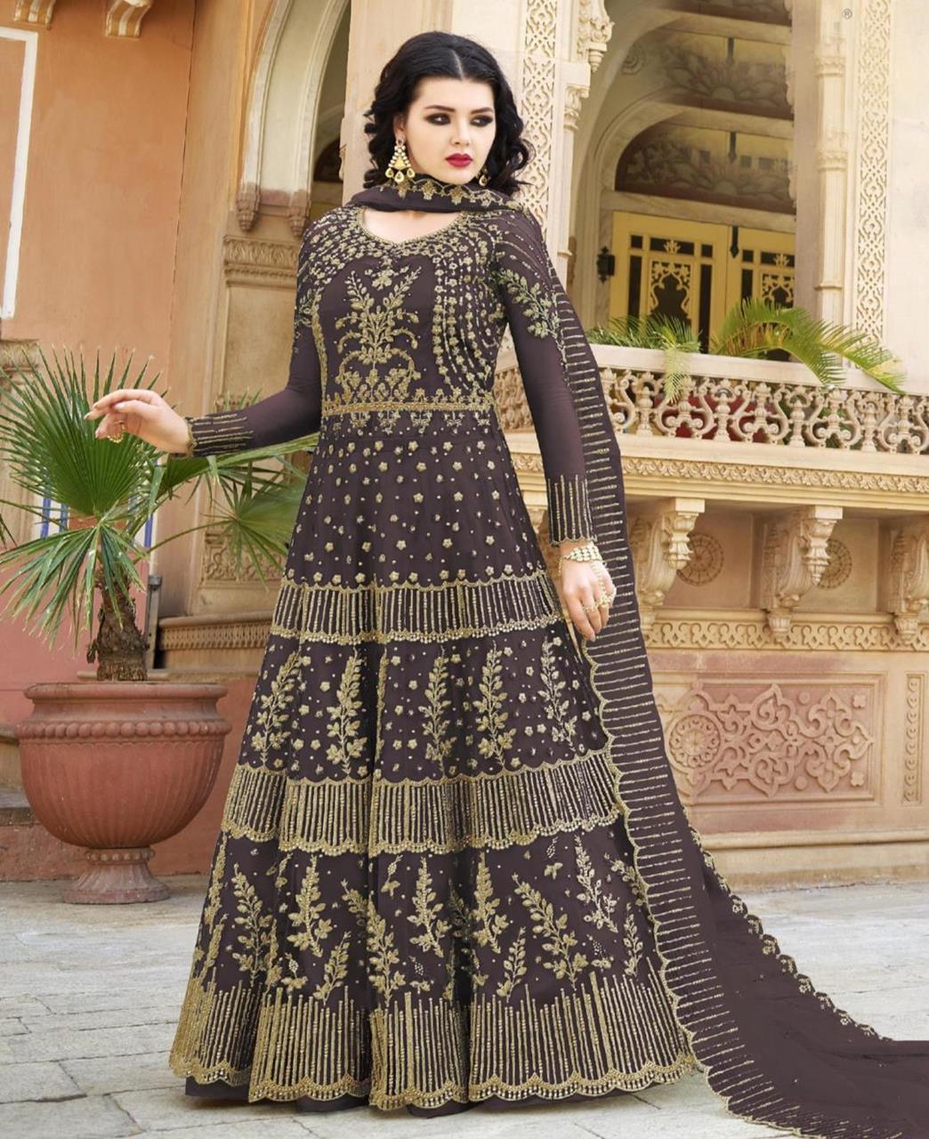 Embroidered Net Gray Abaya Salwar