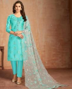 Printed Cotton Straight cut Salwar Kameez in Sky Blue
