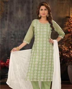 Embroidered Cotton Straight cut Salwar Kameez in Pista Green