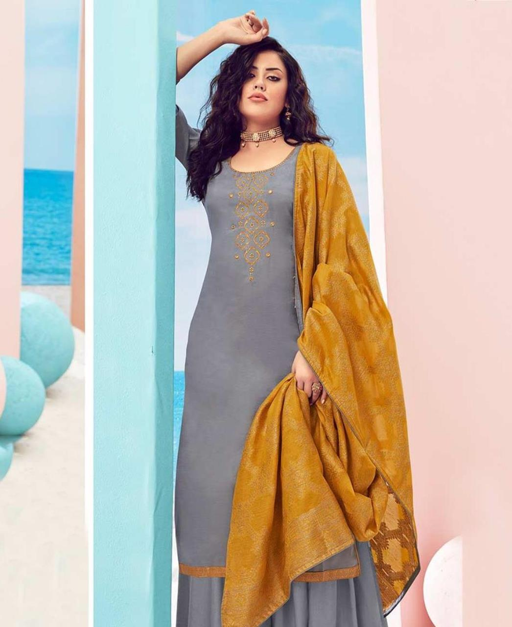Cotton Straight cut Salwar Kameez in Blue