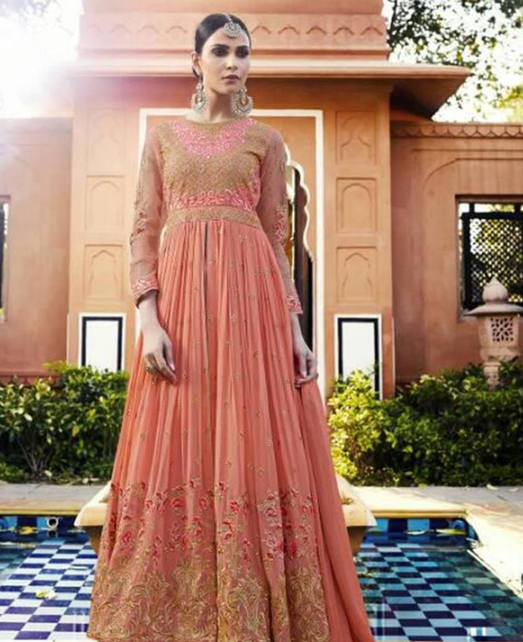 Embroidered Georgette Abaya Style Salwar in Pink