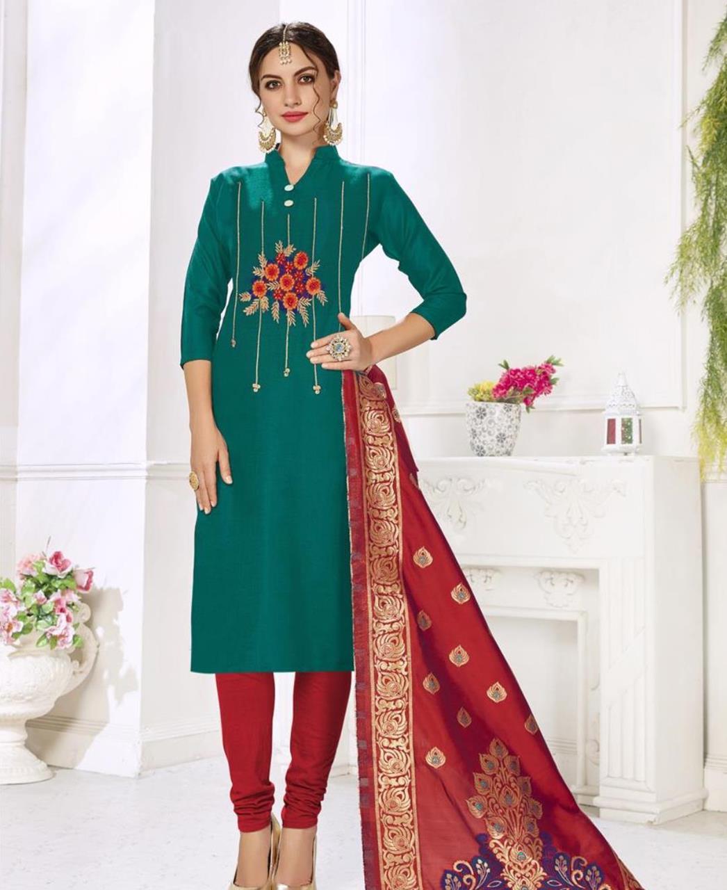 Embroidered Cotton DARKCYAN Straight Cut Salwar