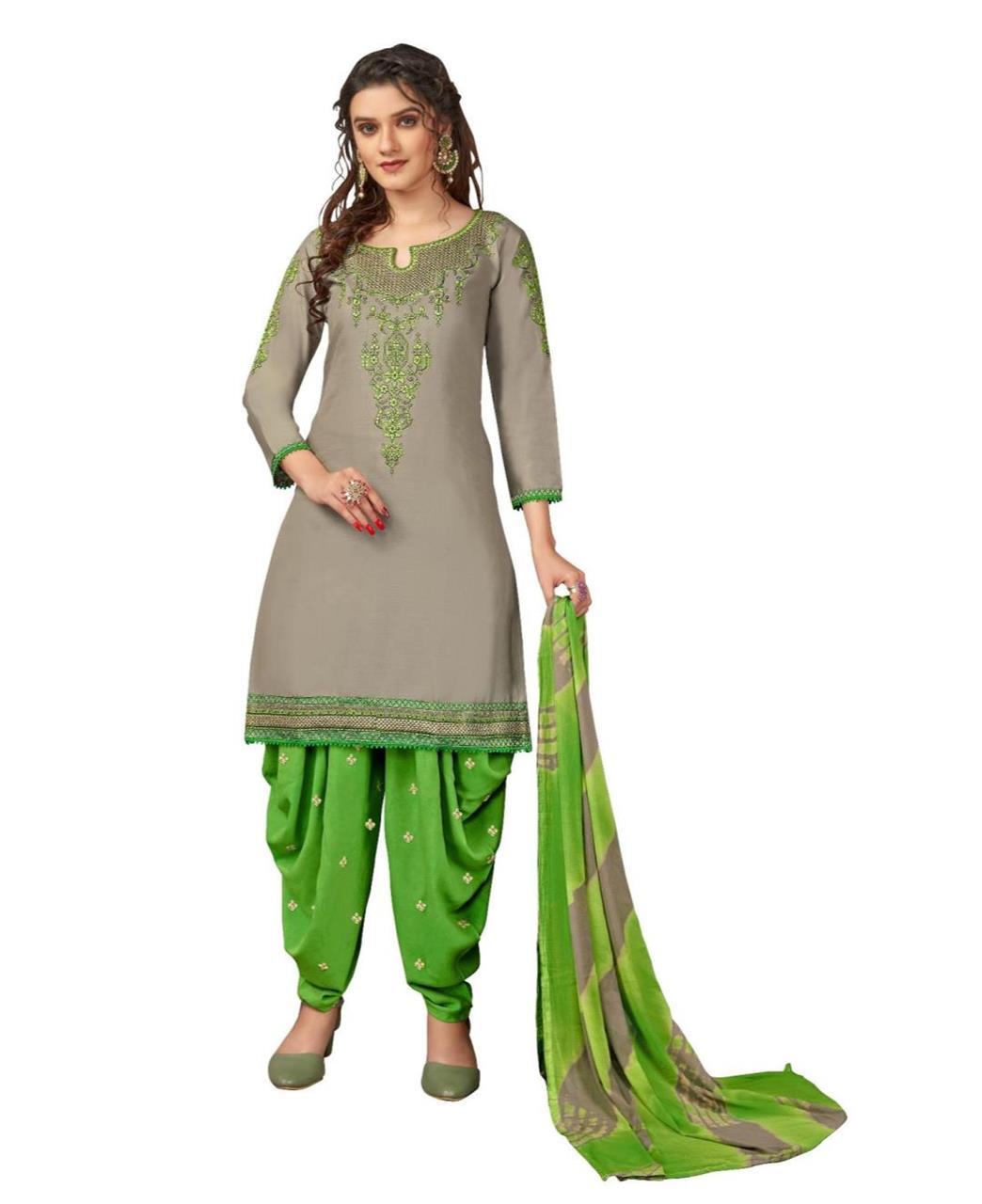 Stone Work Cotton Patiyala Suit Salwar in Grey