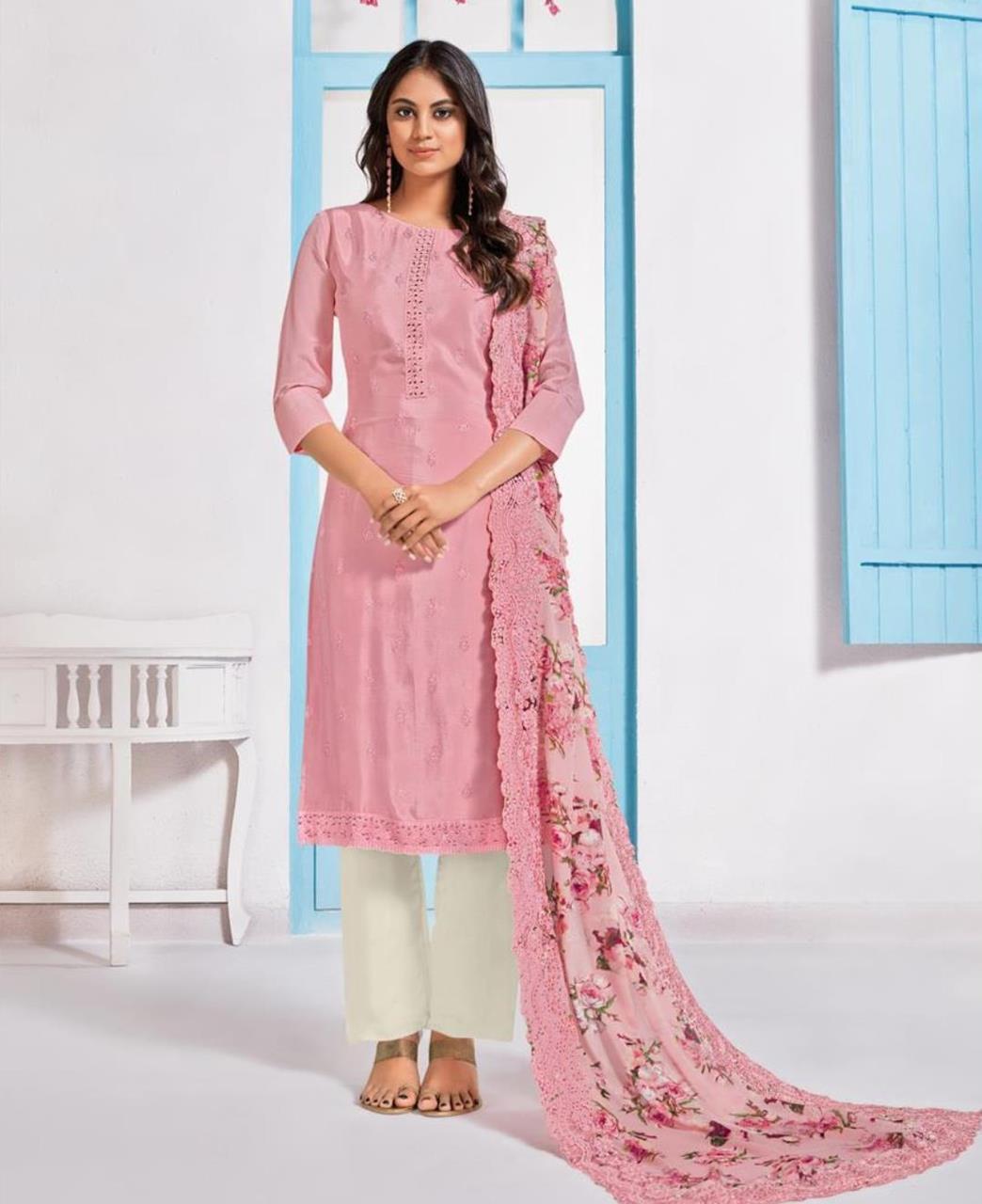 Printed Crepe Straight cut Salwar Kameez in Light Pink