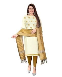 Embroidered Cotton Straight cut Salwar Kameez in Off White