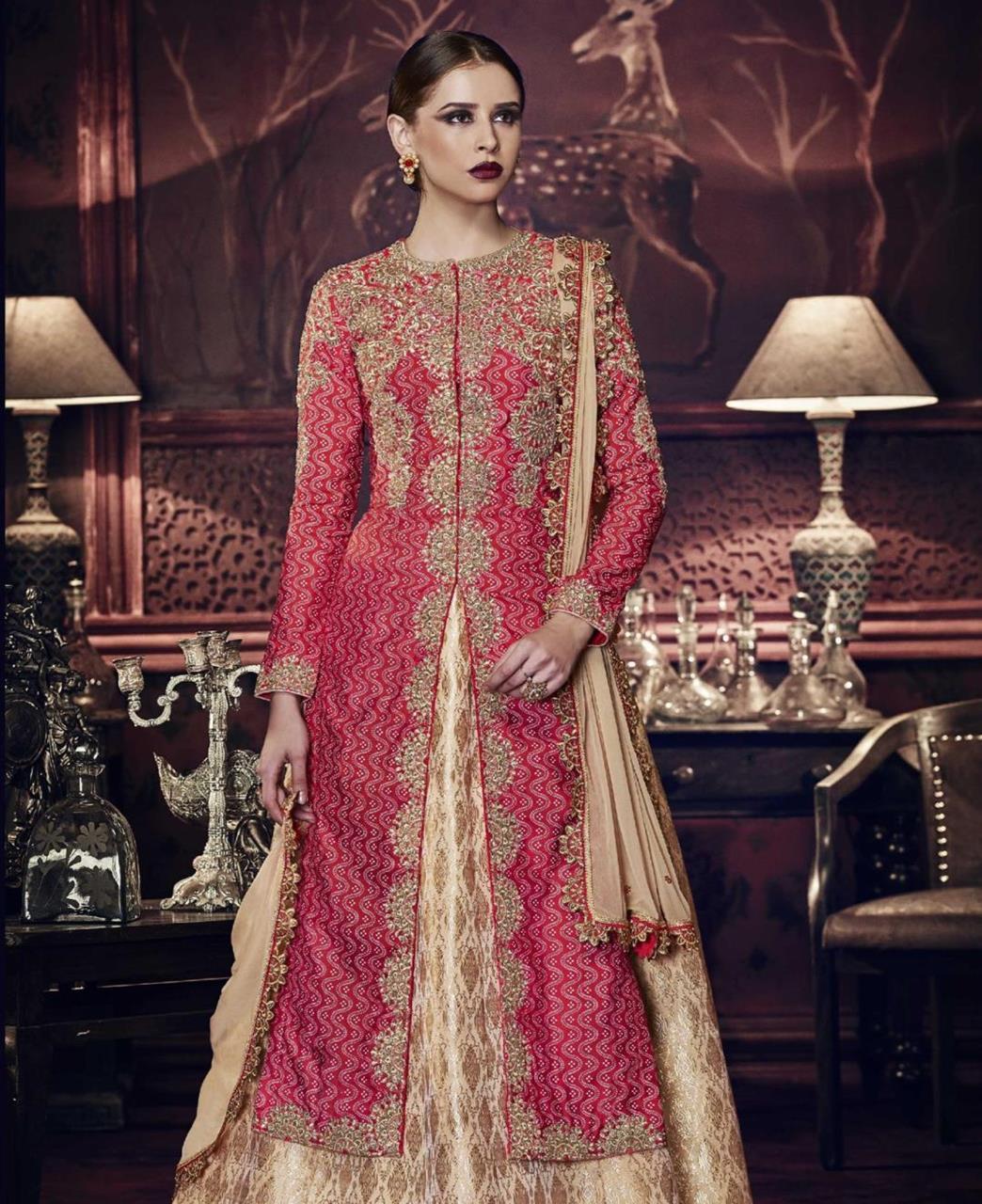 Stone Work Silk Abaya Style Salwar in Pink