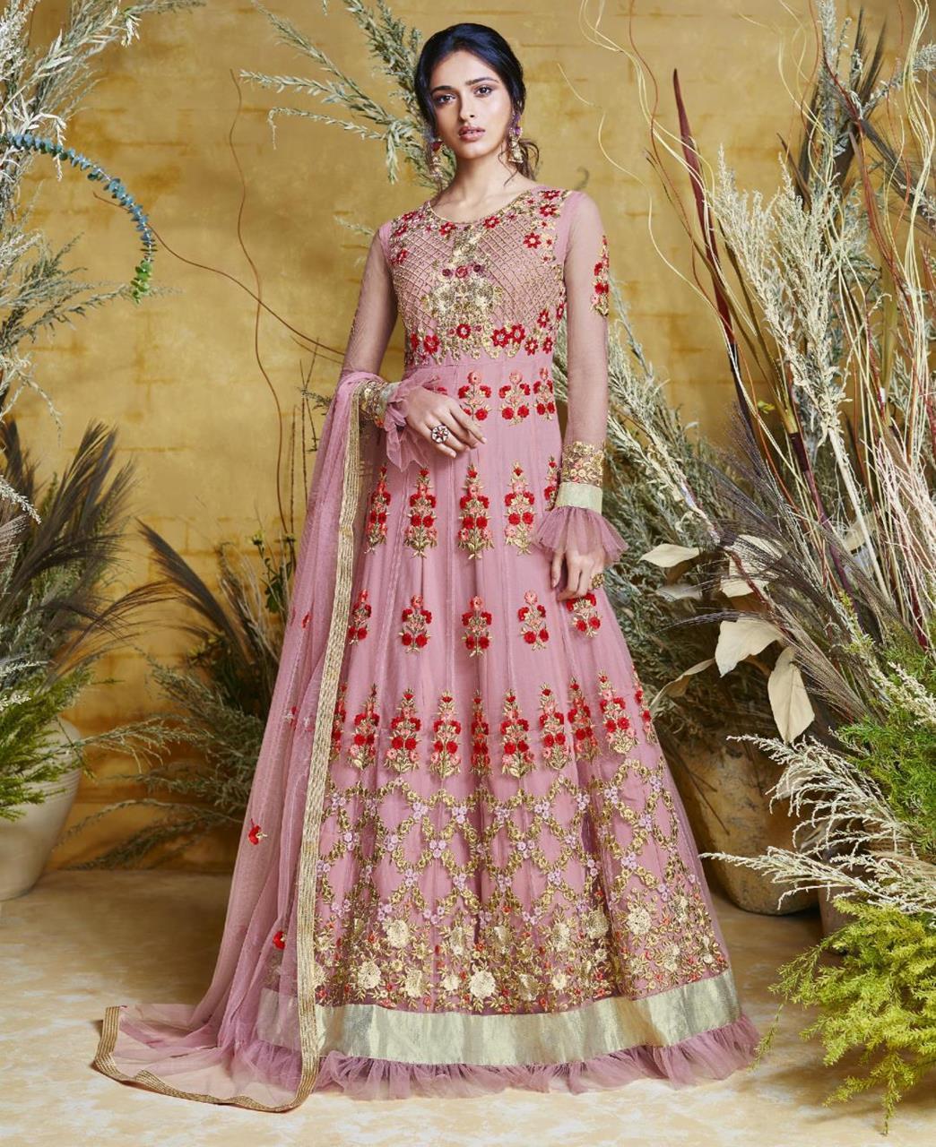 Embroidered Net Pink Abaya Salwar Kameez