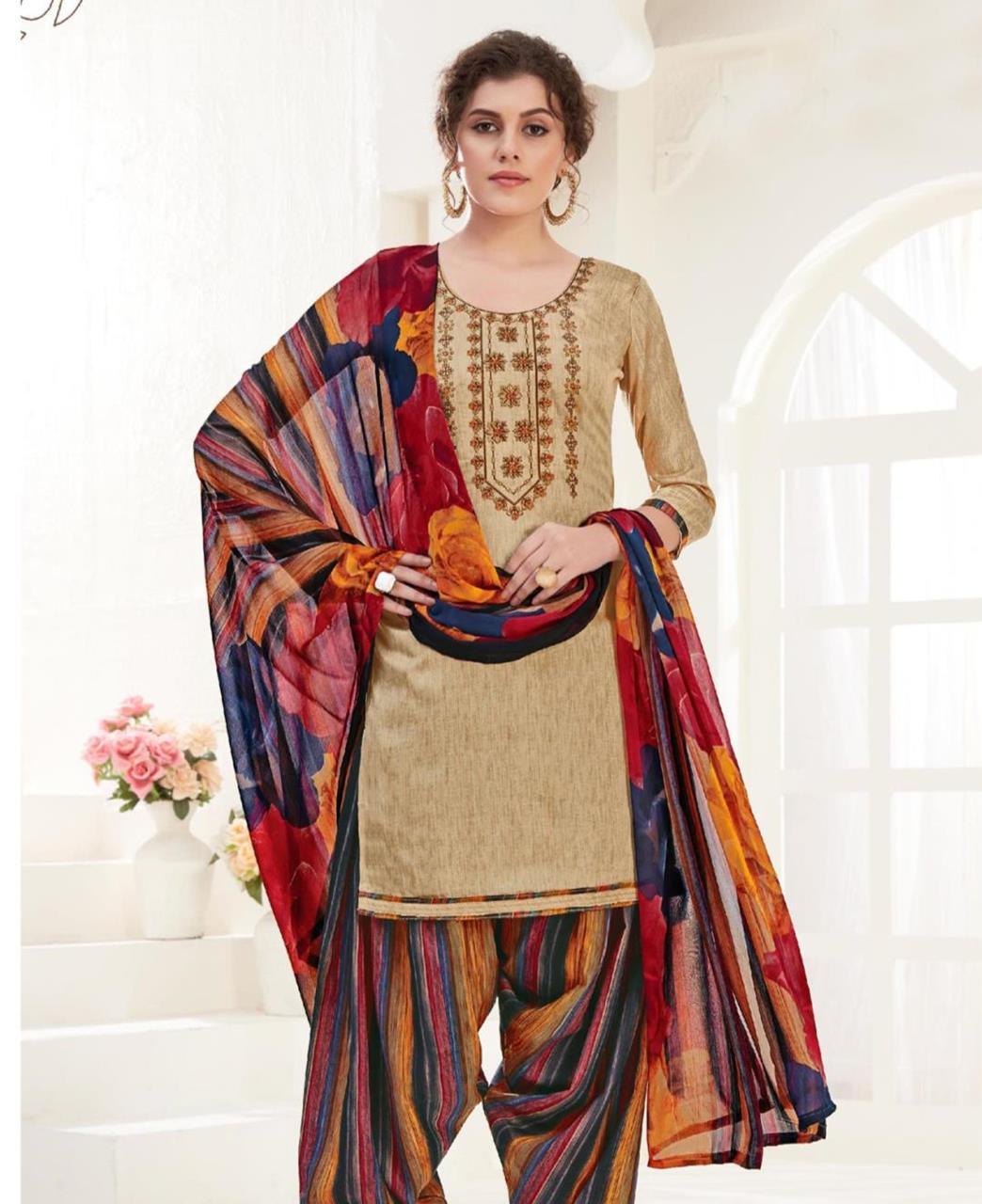 Thread Cotton Patiyala Suit Salwar in Beige