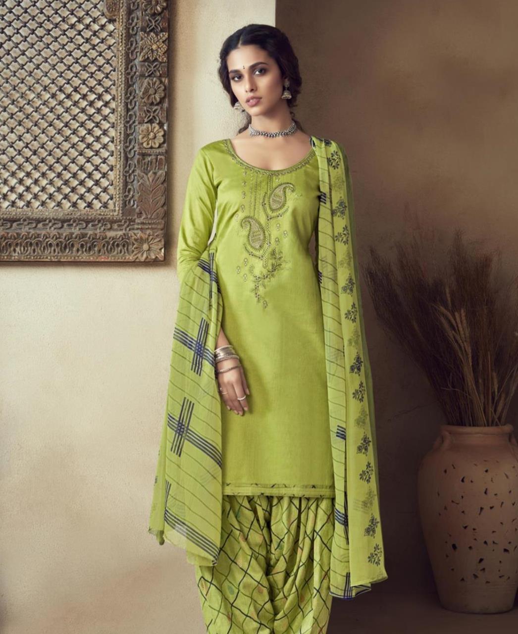 Thread Cotton Patiyala Suit Salwar in Light Green
