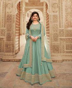 Embroidered Silk Abaya Style Salwar in Turquoise