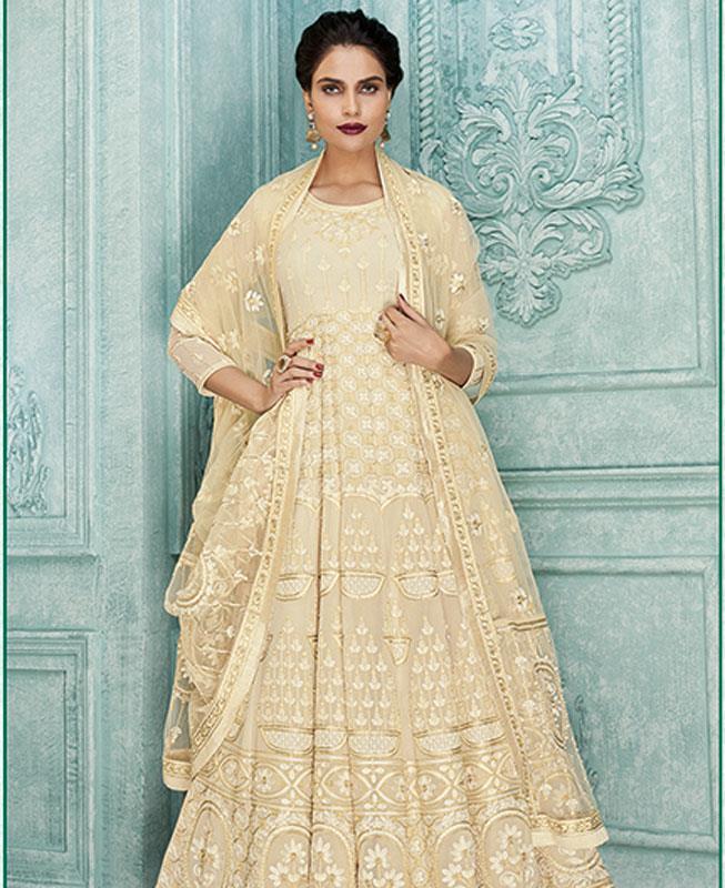 Embroidered Georgette Cream Abaya Style Salwar