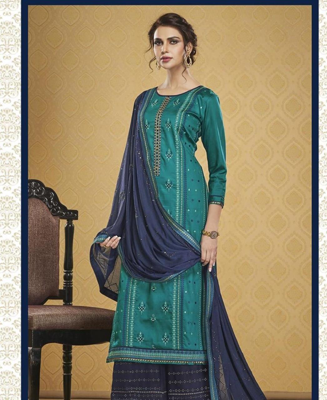 HandWorked Silk Straight cut Salwar Kameez in Teal