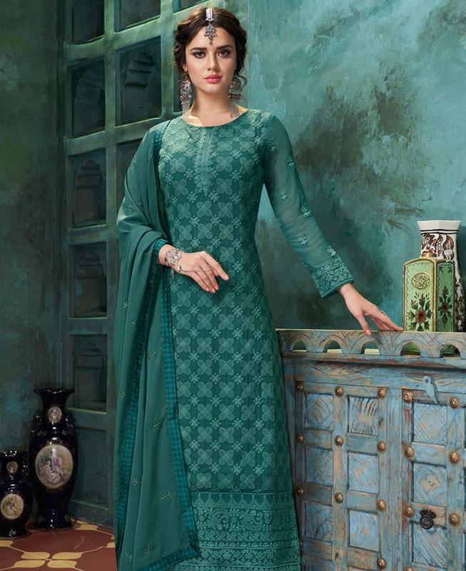 Thread Georgette Straight cut Salwar Kameez in Teal