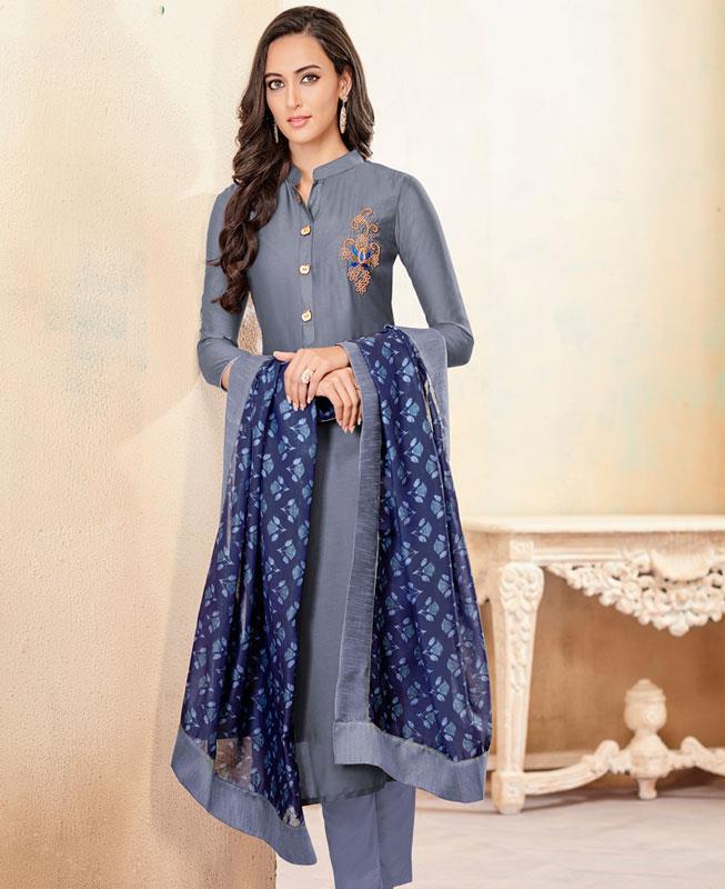 Butta Work Cotton Gray Straight Cut Salwar