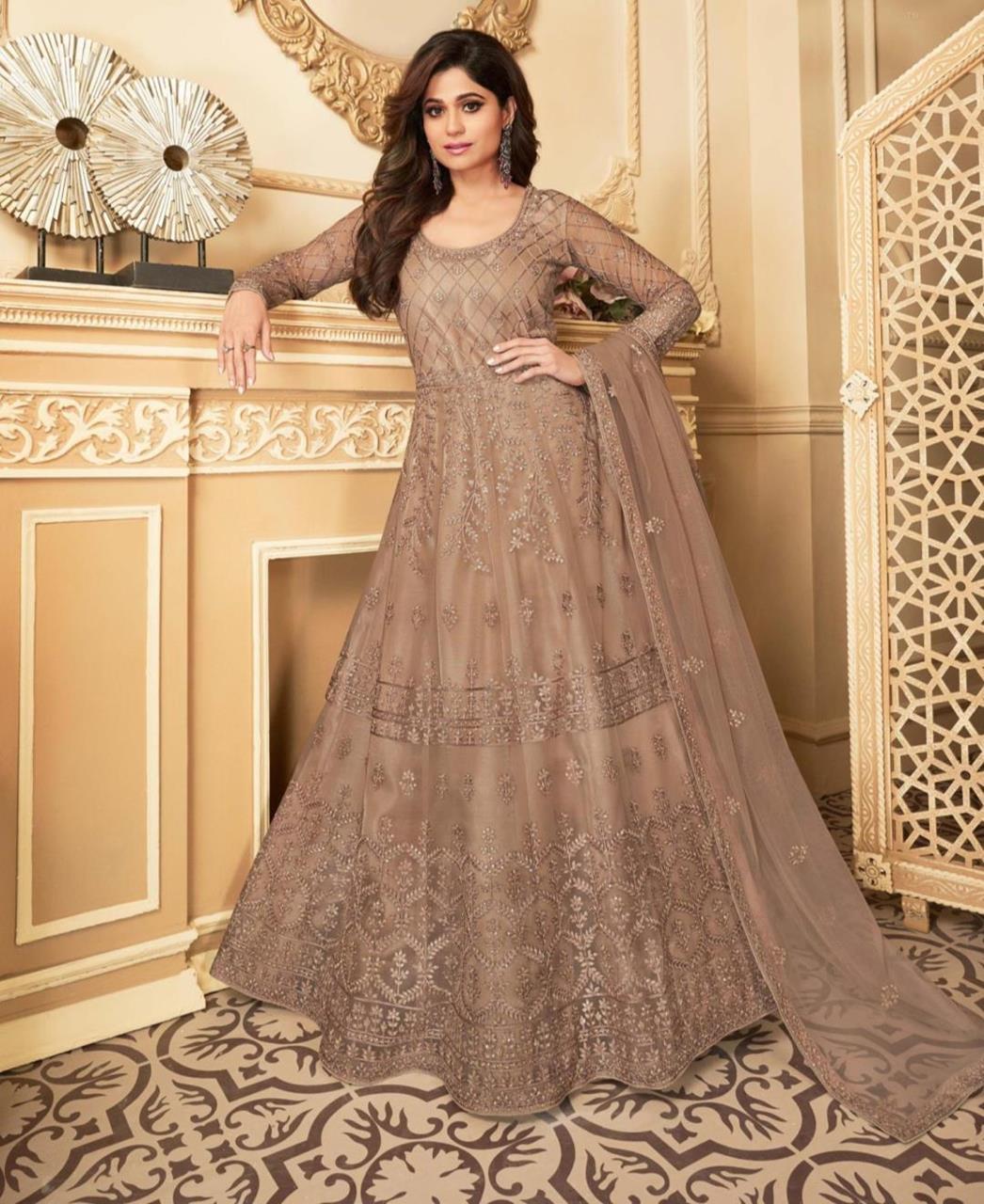 Thread Satin Abaya Style Salwar in Beige