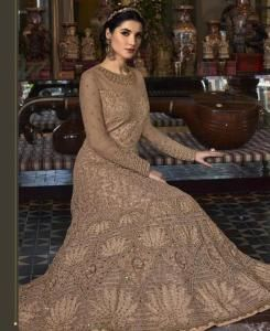 HandWorked Silk Abaya Style Salwar in Light Chiku