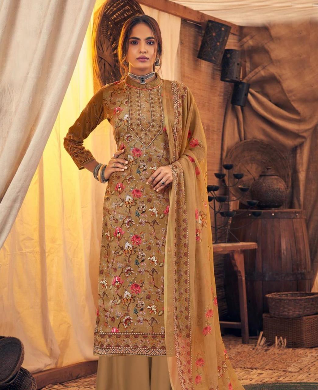 Printed Velvet Straight cut Salwar Kameez in Beige