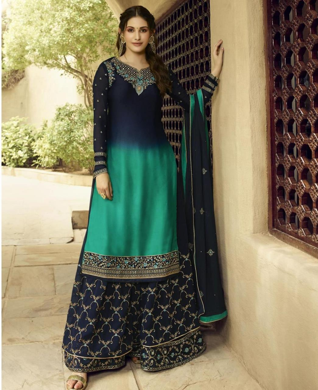 Embroidered Georgette Blue Palazzo Suit Salwar