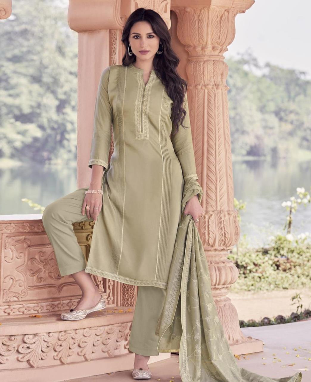 Zari Cotton Straight cut Salwar Kameez in Beige