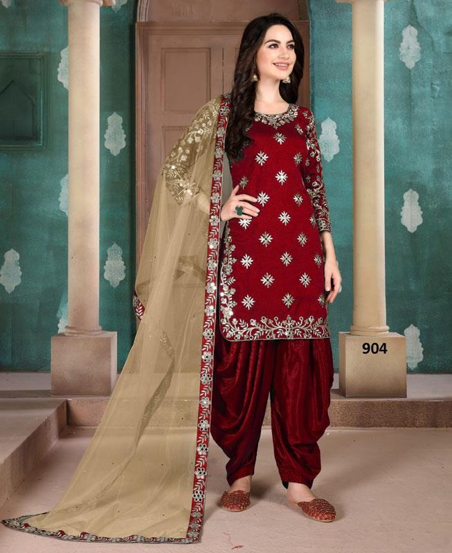 Silk Patiyala Suit Salwar in Red