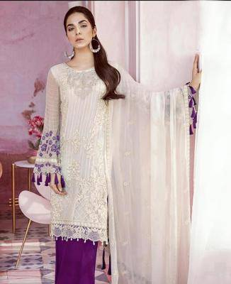 Embroidered Georgette White Palazzo Suit Salwar