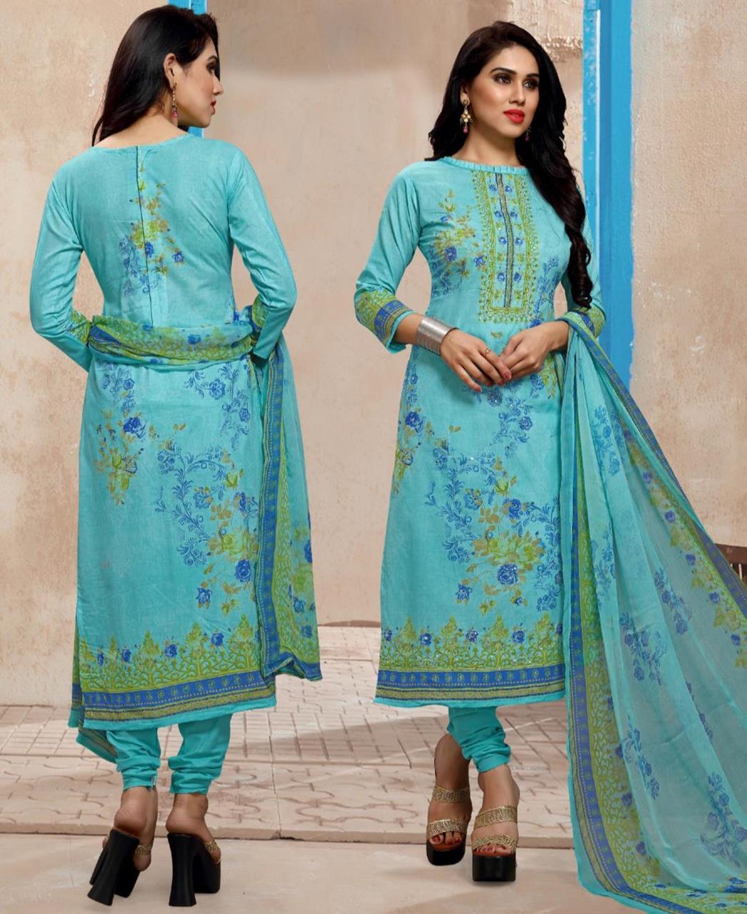 Printed Cotton SKYBLUE Straight Cut Salwar