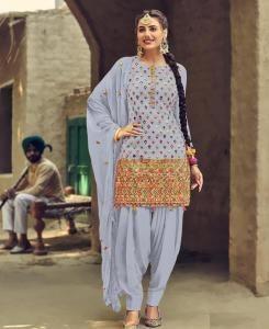 Stone Work Georgette Patiyala Suit Salwar in Sky Blue