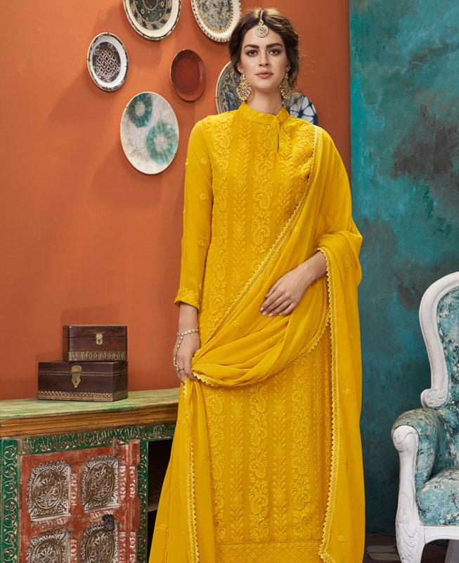 Thread Georgette Straight cut Salwar Kameez in Yellow