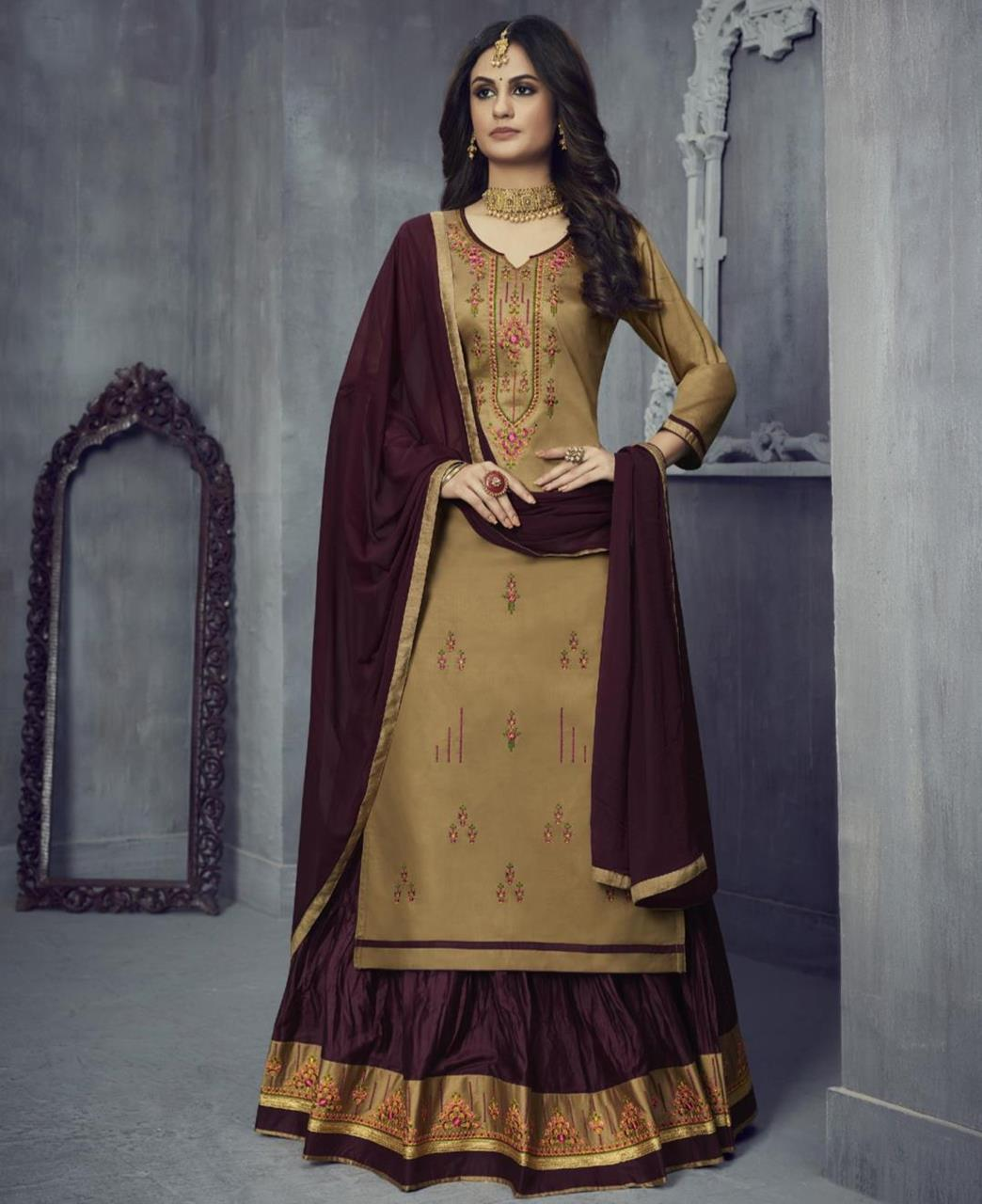 Embroidered Cotton Abaya Style Salwar in Beige