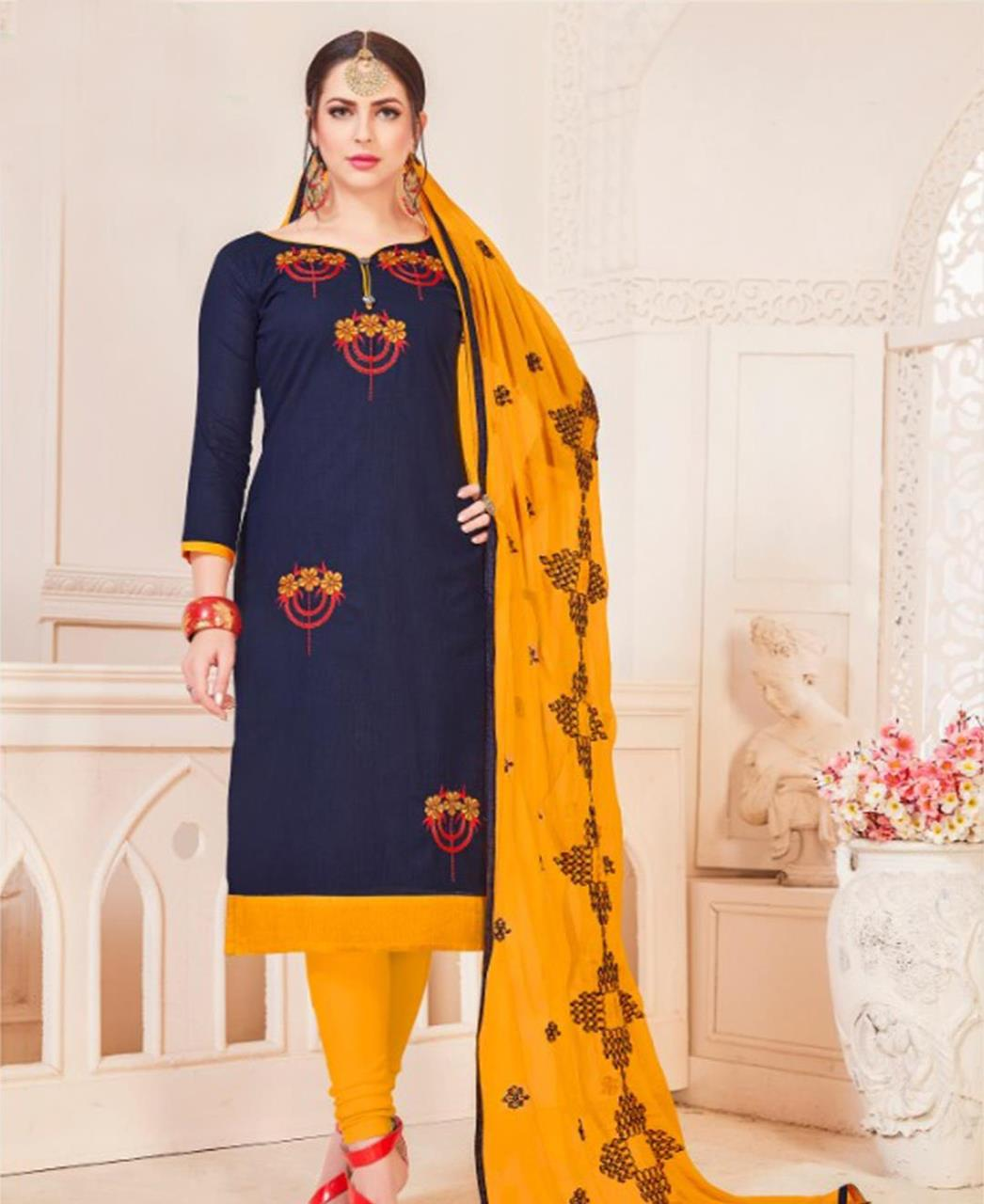 Embroidered Cotton Navyblue Straight Cut Salwar Kameez
