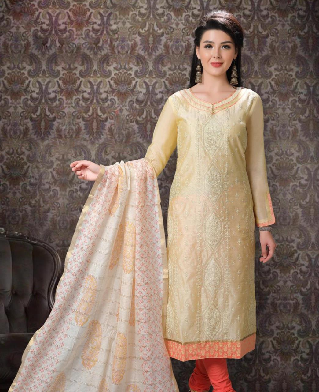 Embroidered Chanderi Silk Beige Straight Cut Salwar