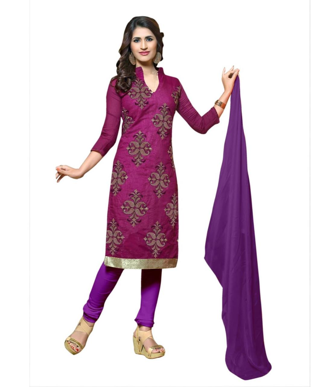 Cotton Straight cut Salwar Kameez in Violet