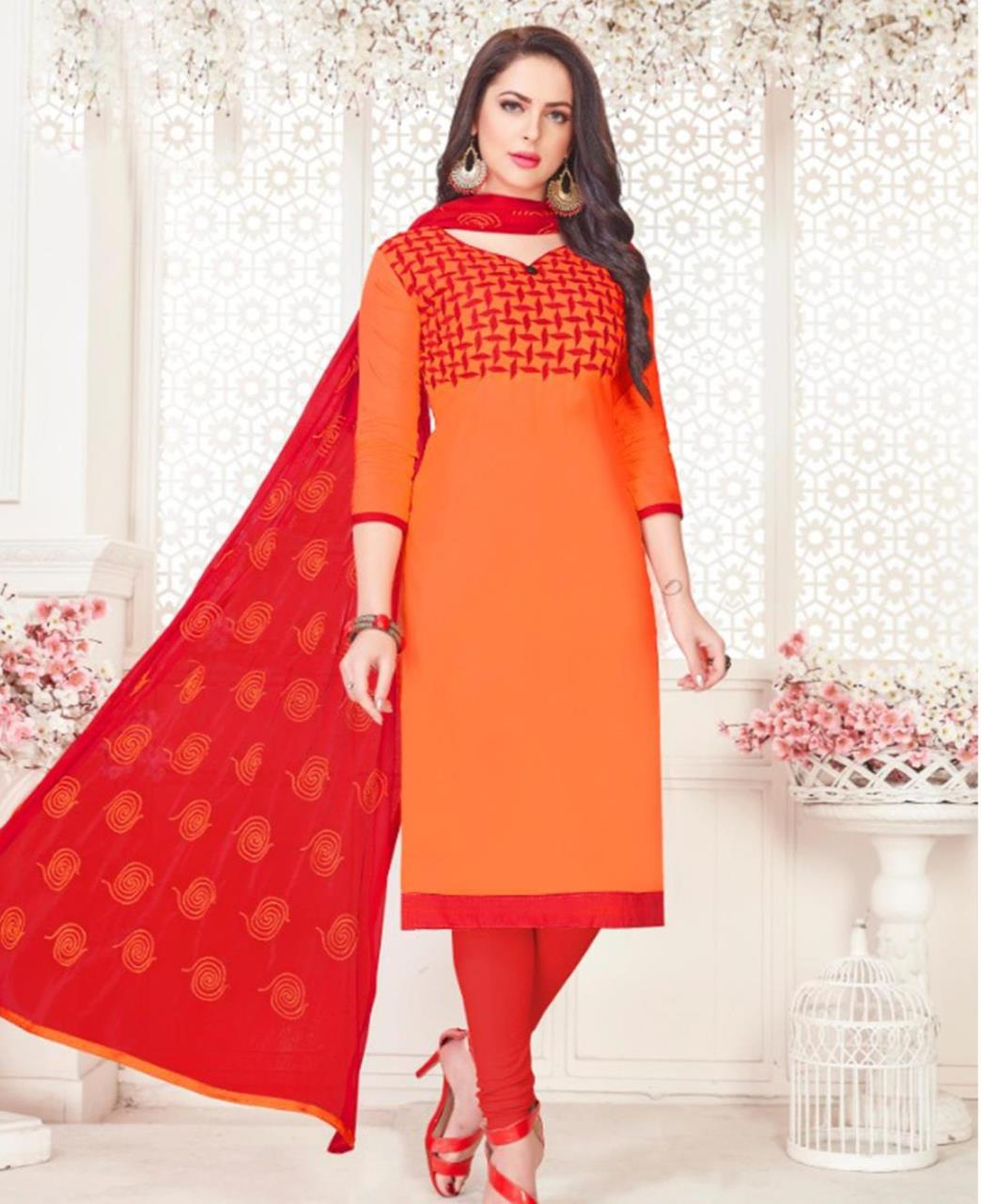 Embroidered Cotton Satin Orange Straight Cut Salwar Kameez