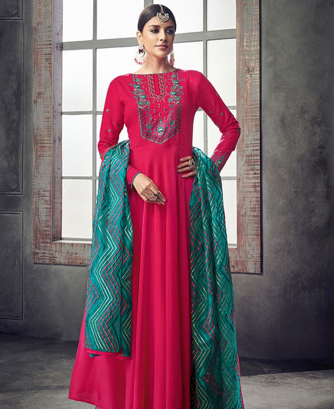 Embroidered Georgette Pink Abaya Style Salwar