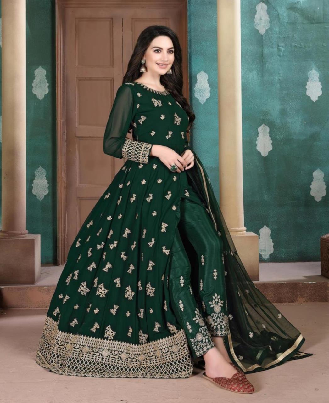 Stone Work Georgette Abaya Style Salwar in Dark Green